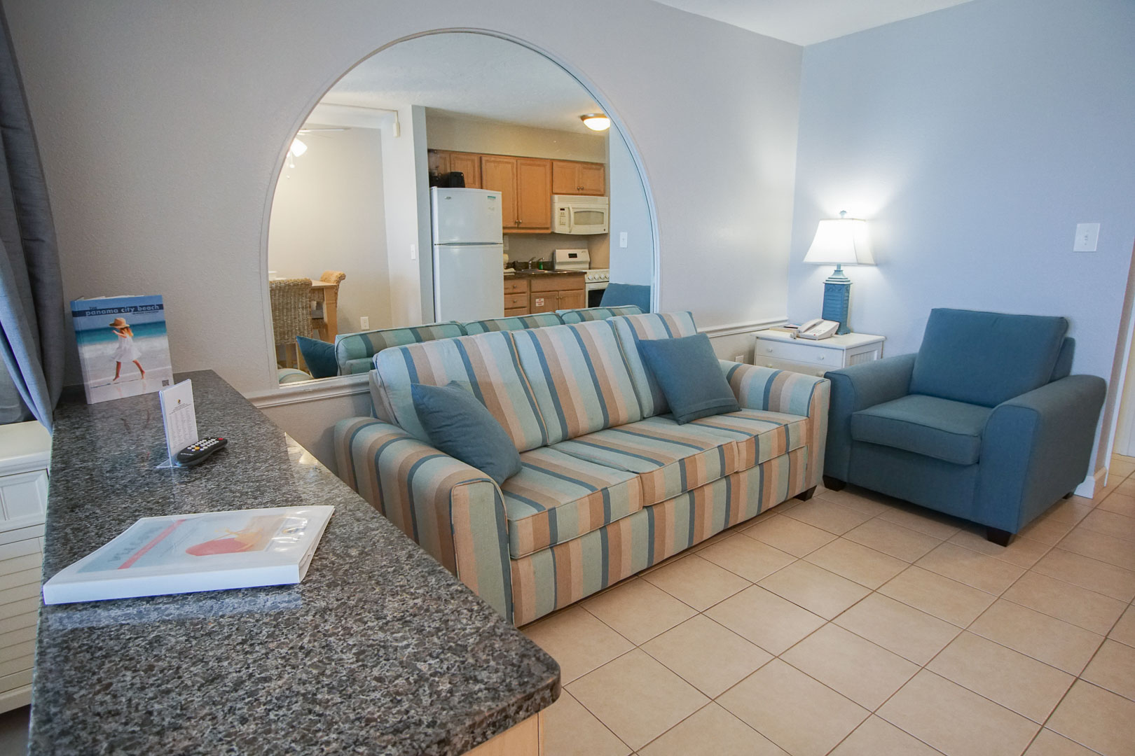 A cozy studio unit with a living room area at VRI's Panama City Resort & Club in Florida.