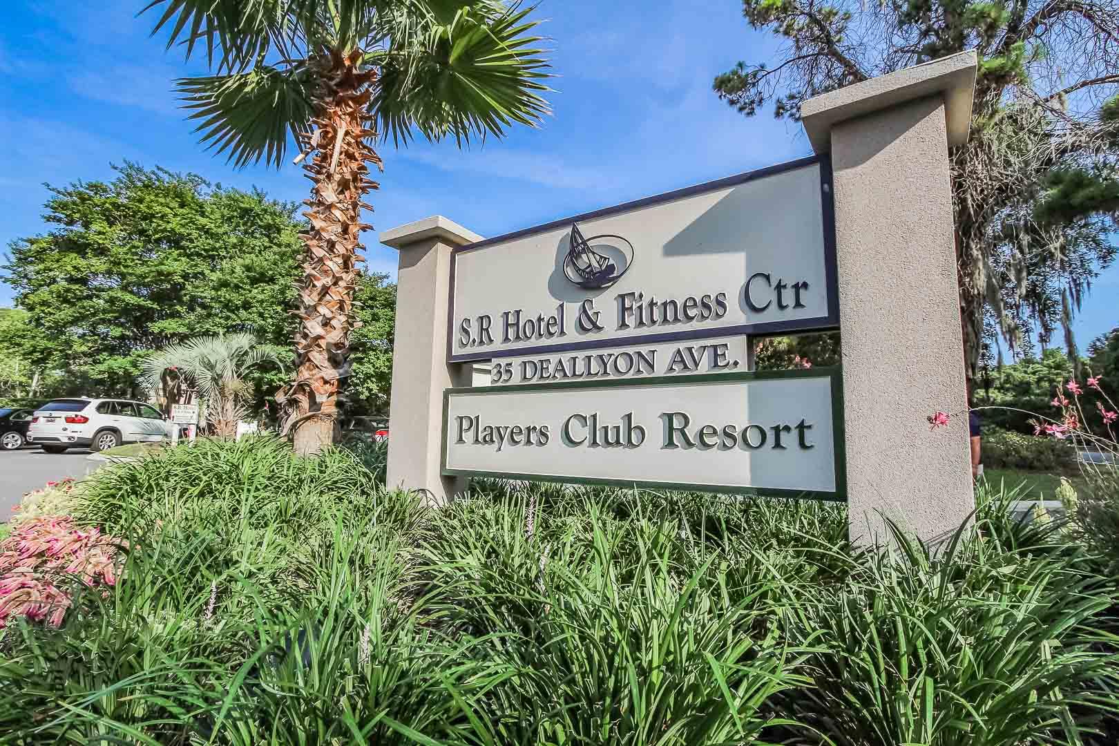 A welcoming resort signage at VRI's Players Club Resort in Hilton Head Island, South Carolina.