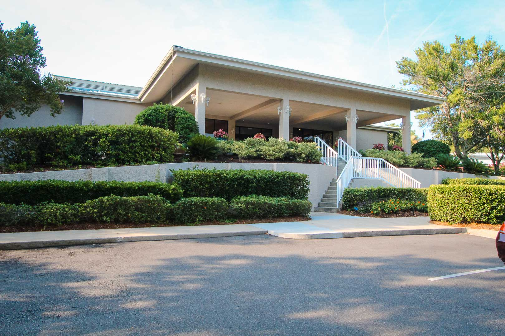 An exterior view of the lobby at VRI's Players Club Resort in Hilton Head Island, South Carolina.