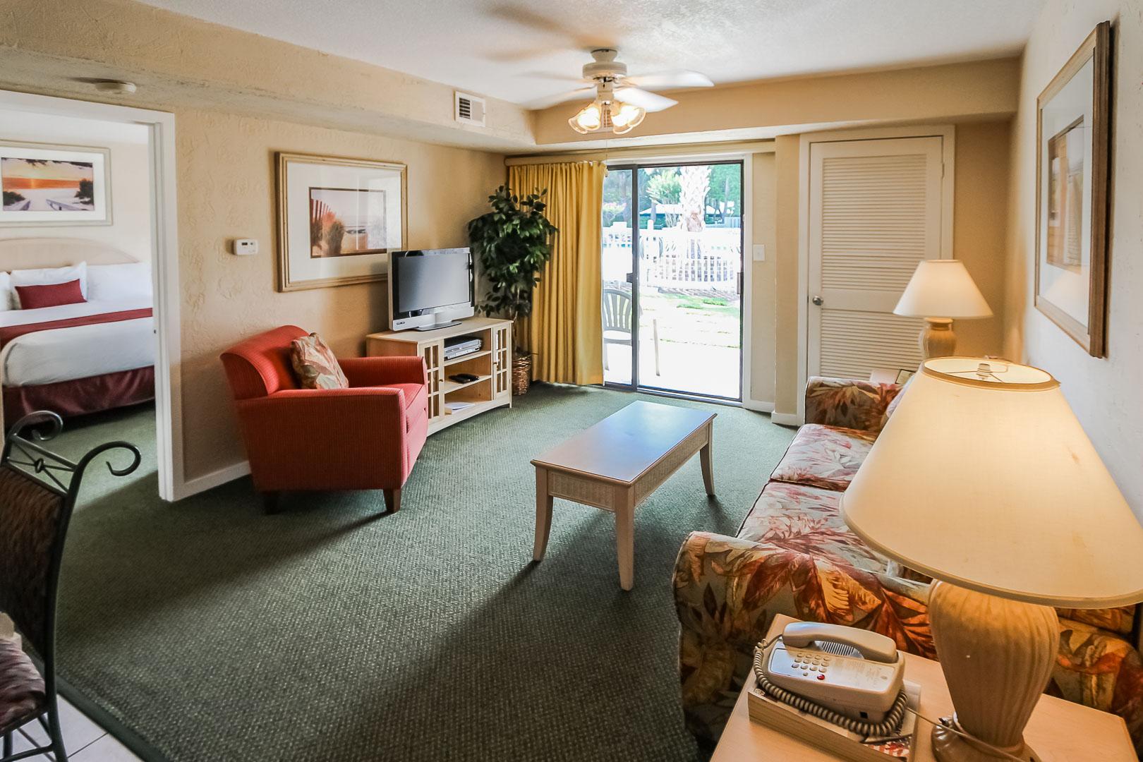 A spacious living room area at VRI's Players Club Resort in Hilton Head Island, South Carolina.