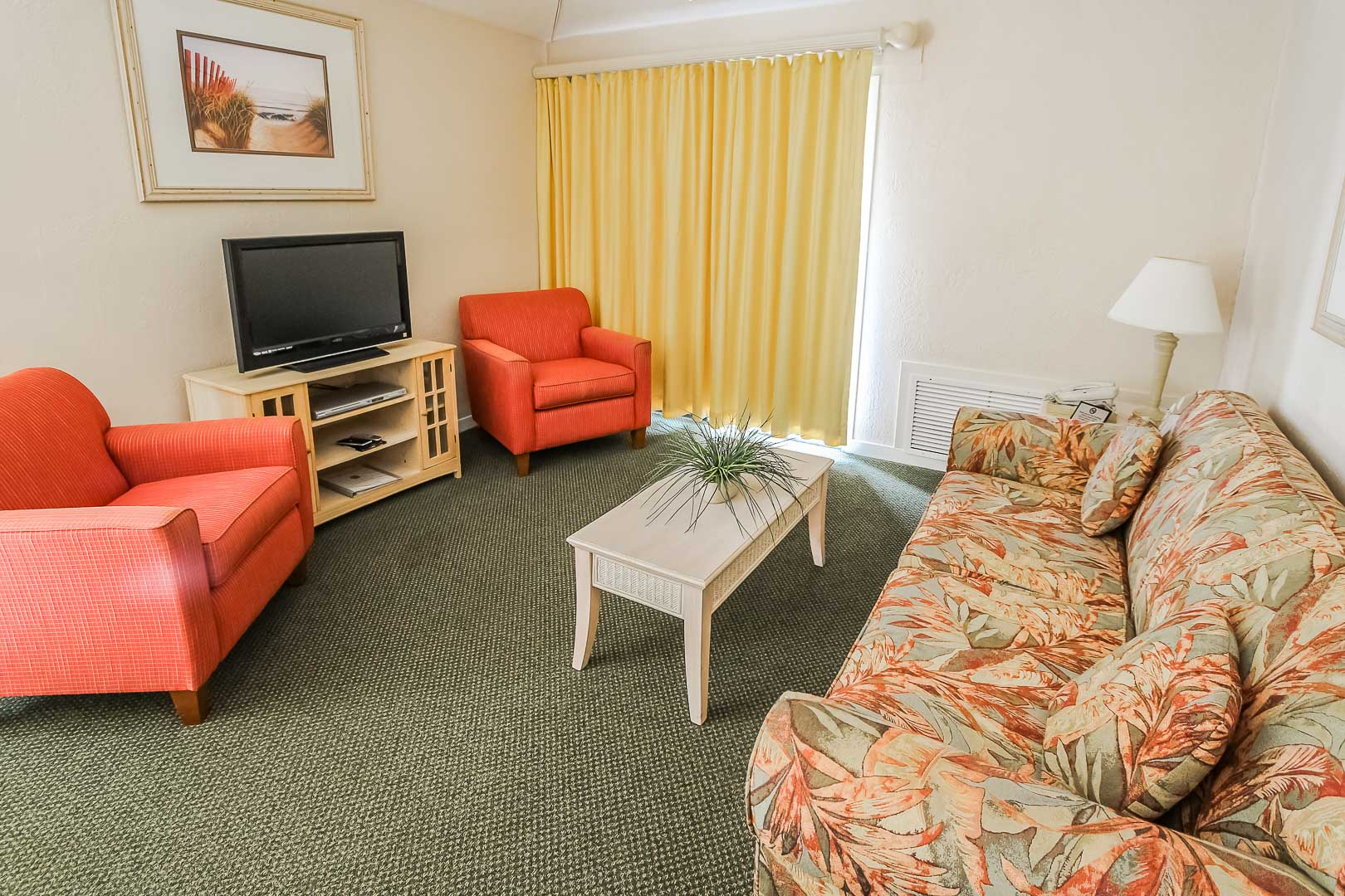 A cozy living room area at VRI's Players Club Resort in Hilton Head Island, South Carolina.