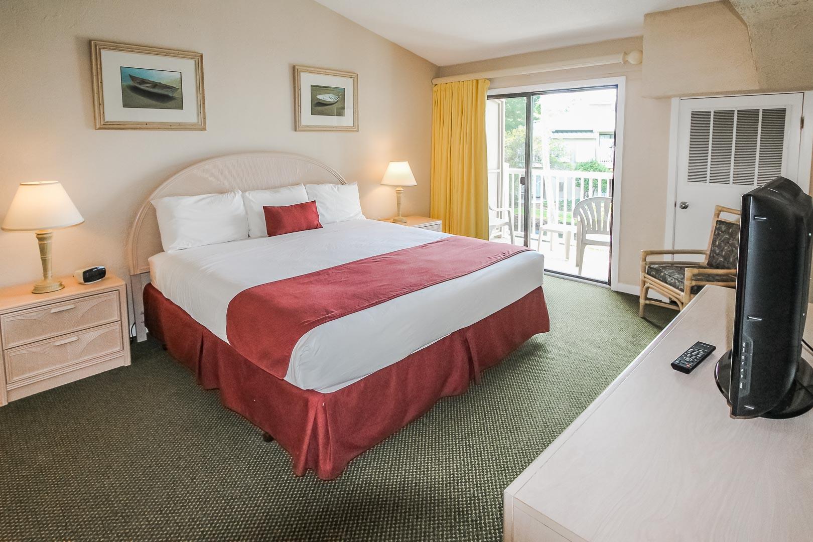 A spacious master bedroom at VRI's Players Club Resort in Hilton Head Island, South Carolina.