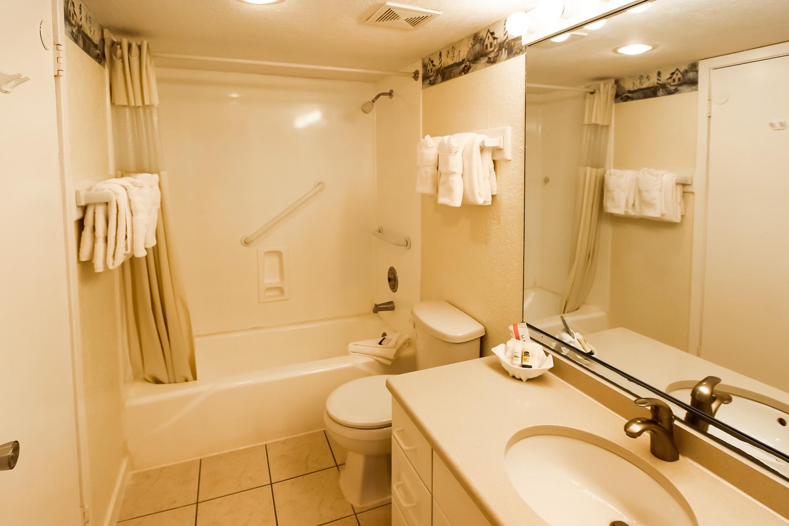 A clean bathroom at VRI's Players Club Resort in Hilton Head Island, South Carolina.