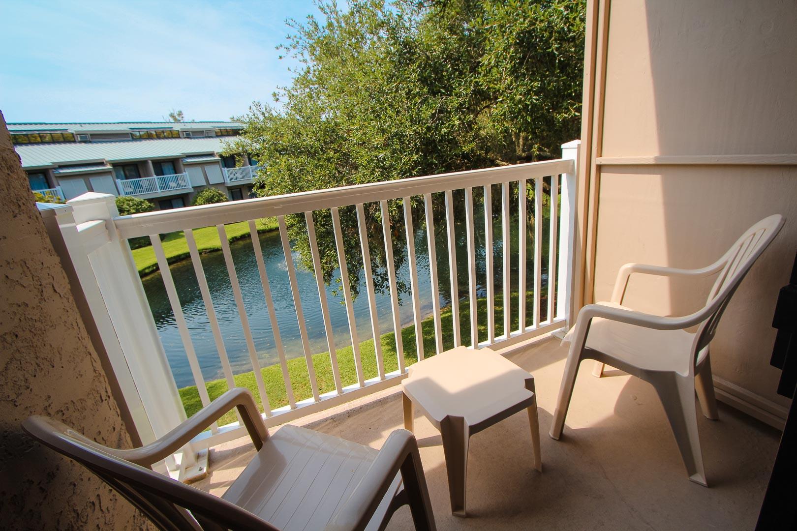 A peaceful balcony view at VRI's Players Club Resort in Hilton Head Island, South Carolina.
