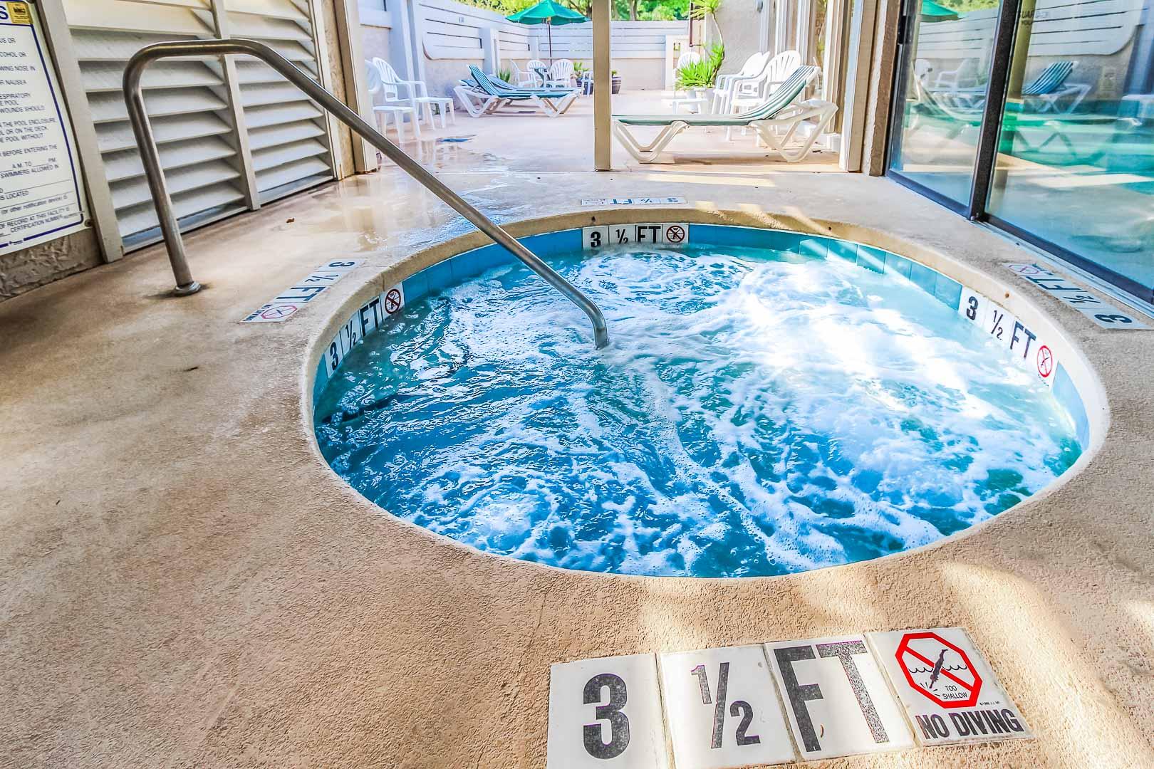 A relaxing Jacuzzi tub at VRI's Players Club Resort in Hilton Head Island, South Carolina.