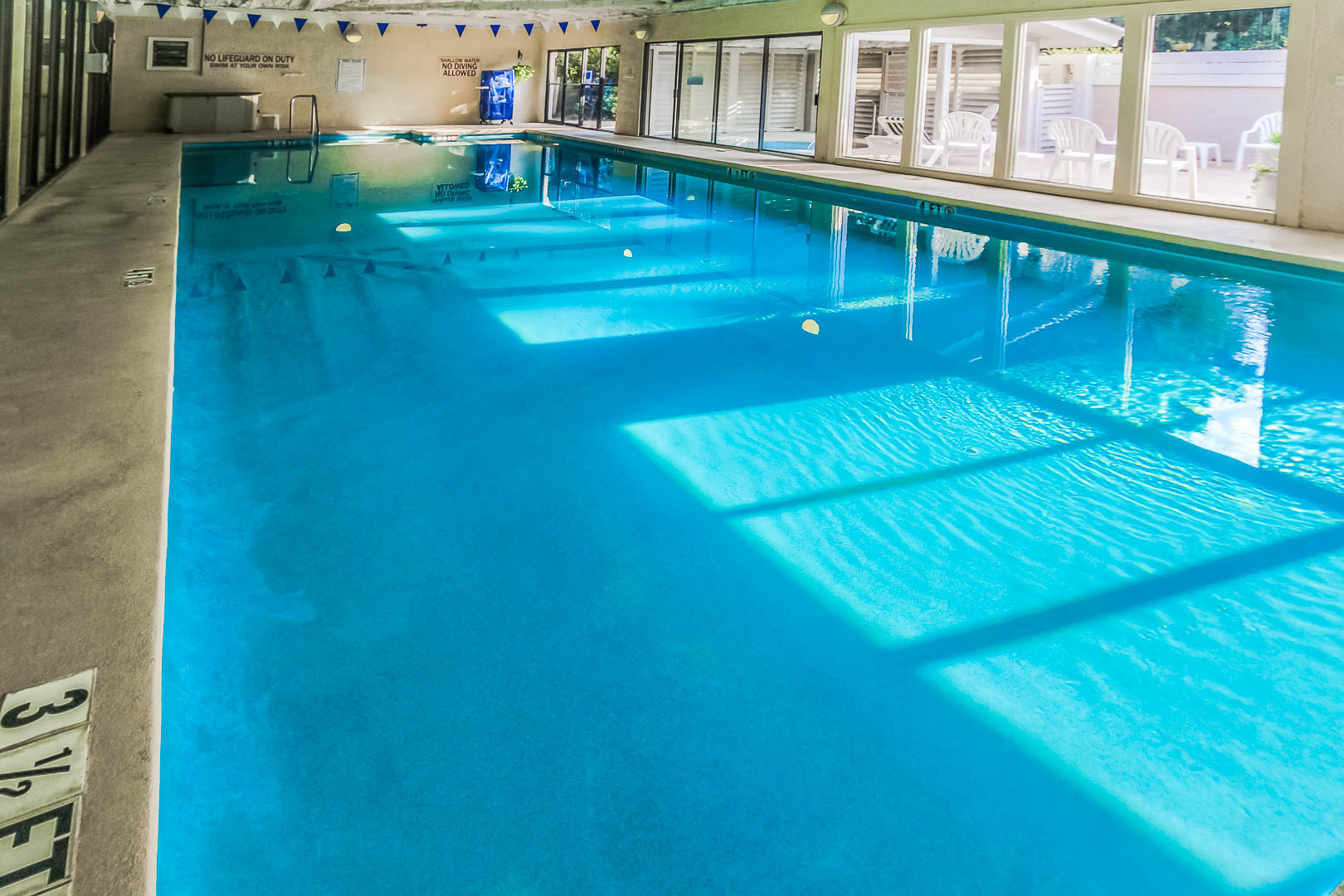 An expansive indoor swimming pool at VRI's Players Club Resort in Hilton Head Island, South Carolina.