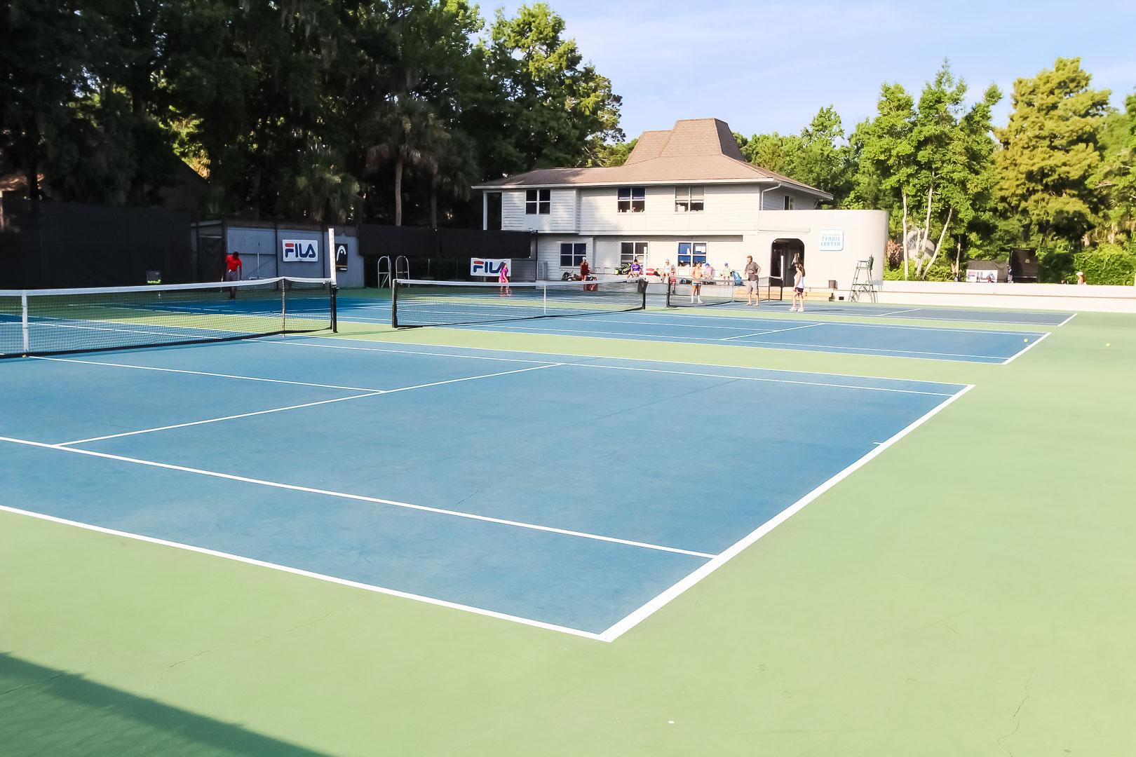 An outdoor tennis court at VRI's Players Club Resort in Hilton Head Island, South Carolina.