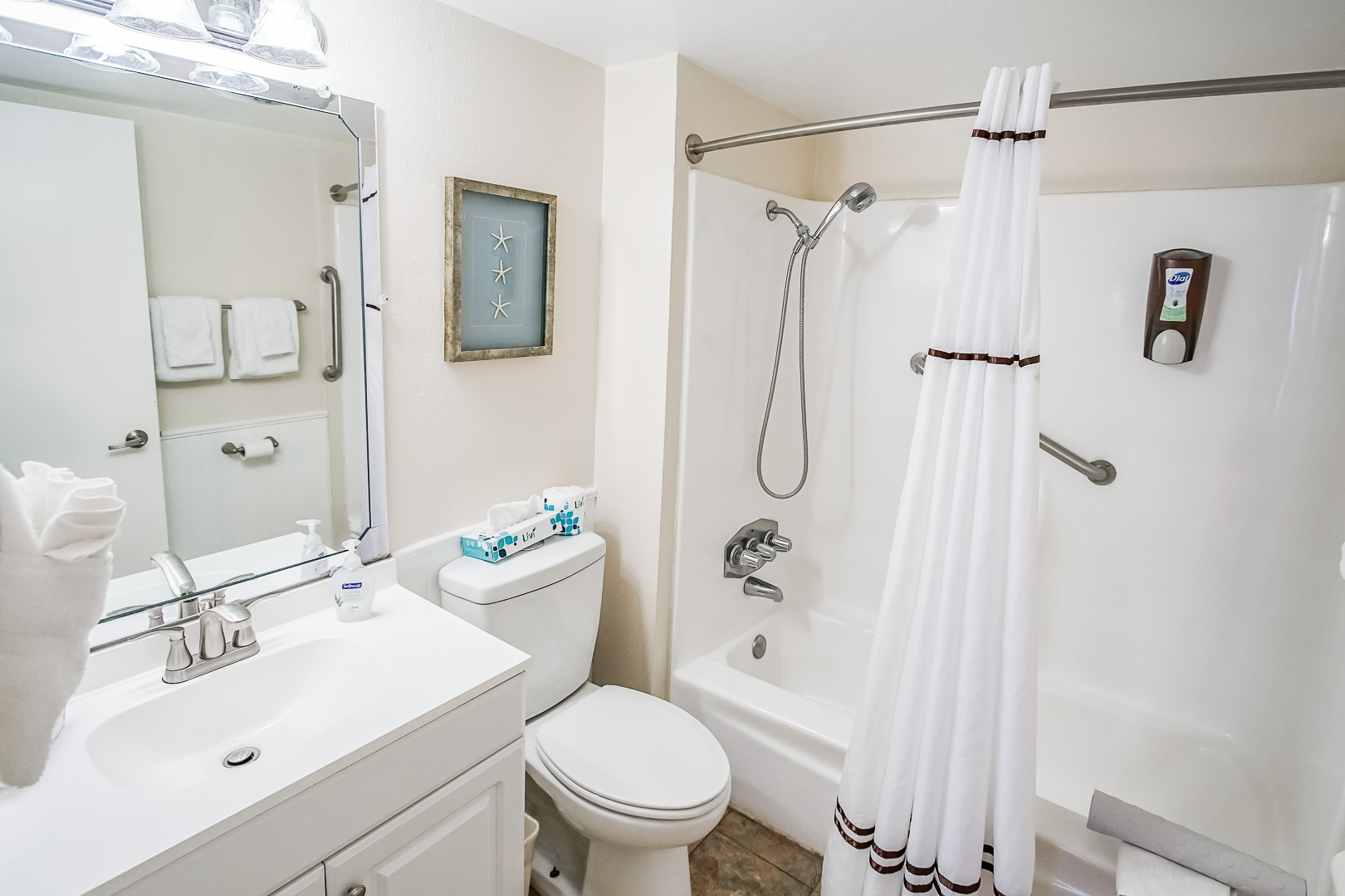 A clean bathroom at VRI's Puente Vista in Texas.