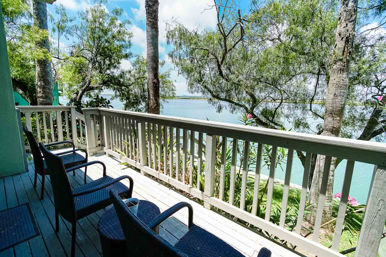A relaxing balcony view at VRI's Puente Vista Resort in Texas.