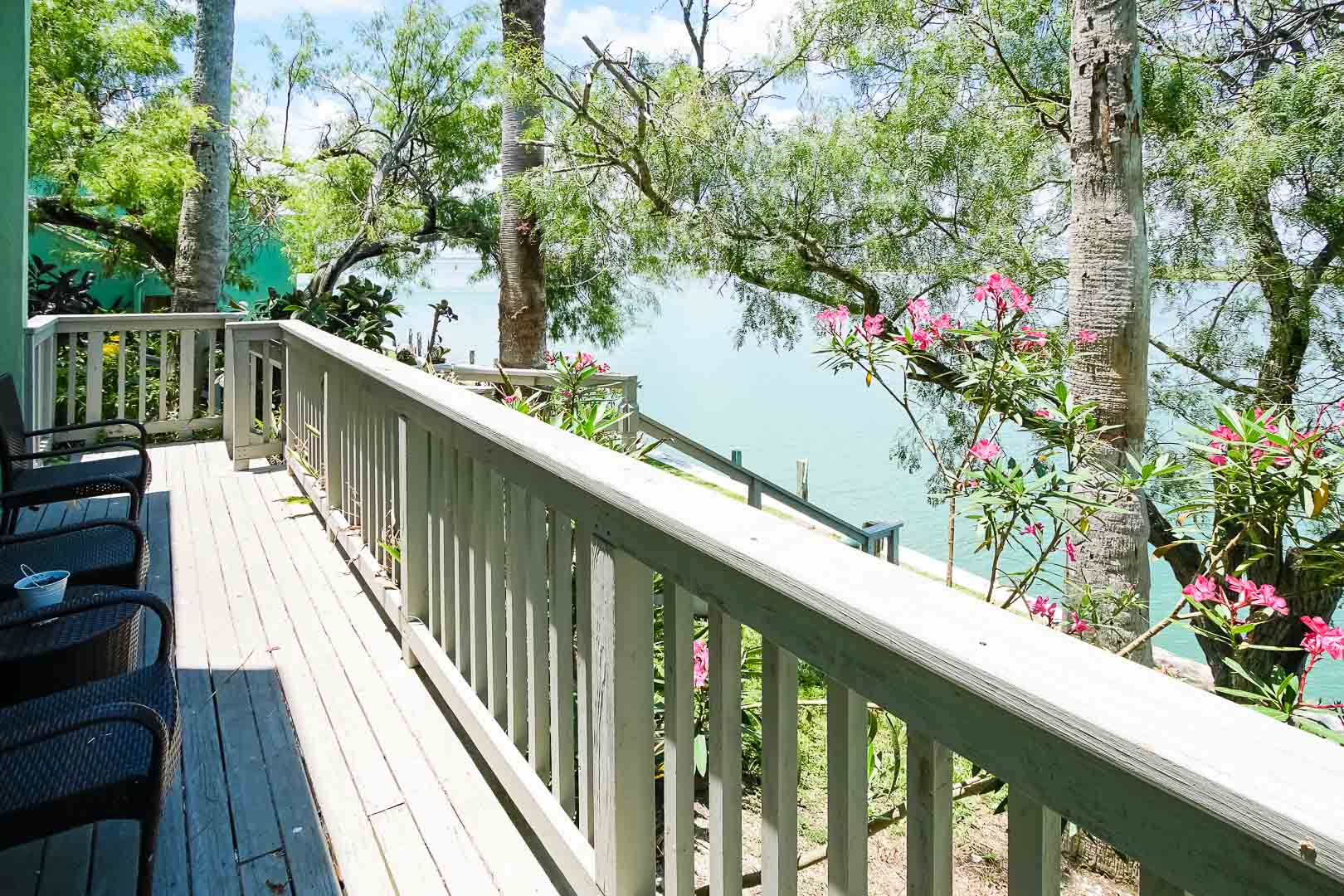 A peaceful balcony view at VRI's Puente Vista Resort in Texas.