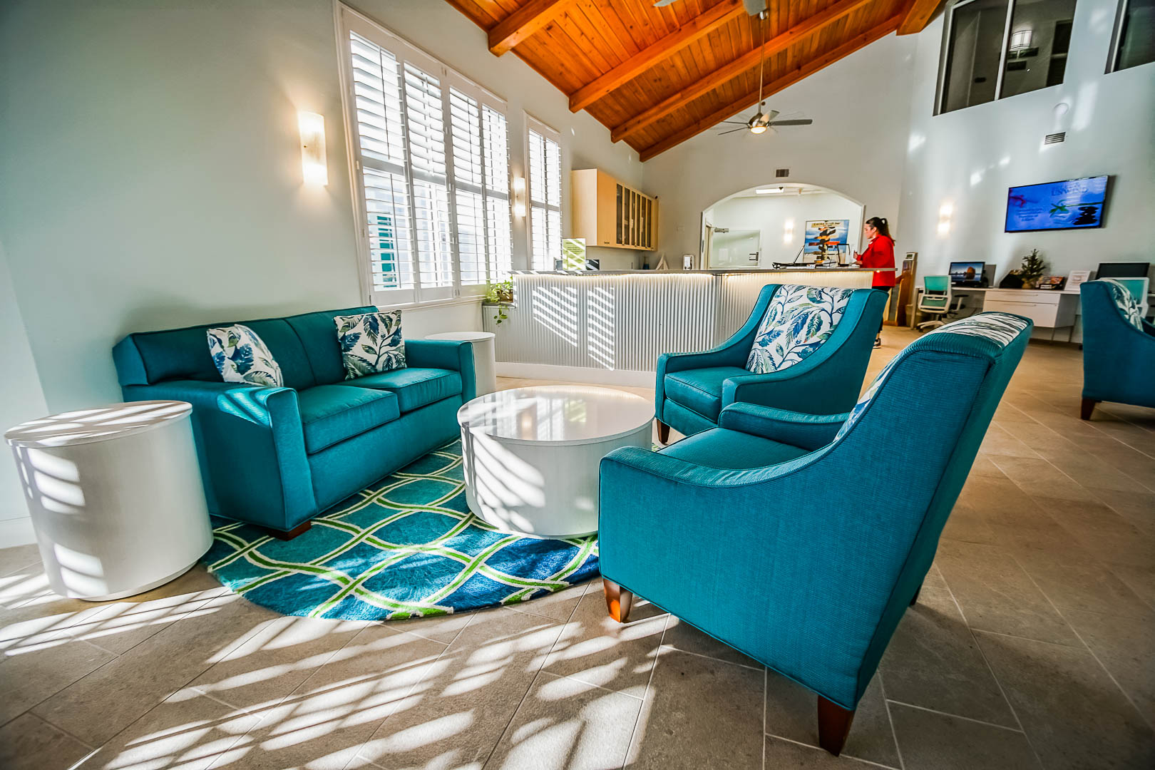 A modern and colorful resort lobby at VRI's The Resort on Cocoa Beach in Florida.