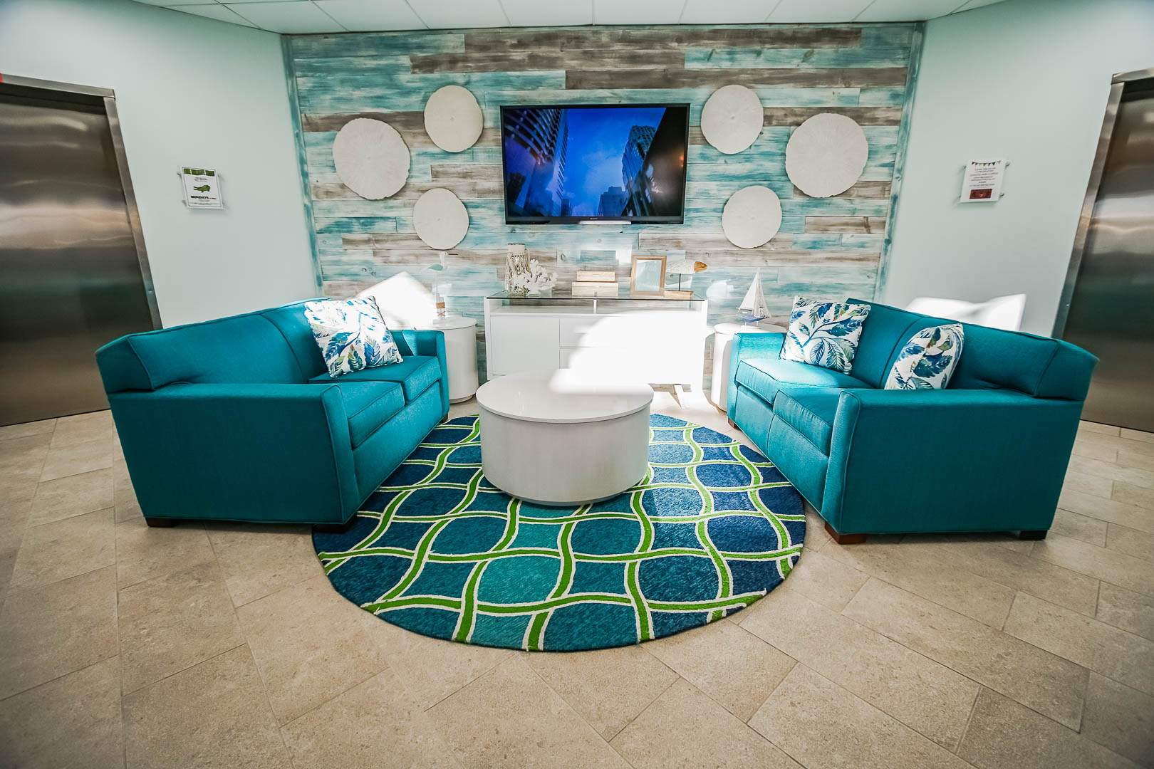 A colorful resort lobby at VRI's The Resort on Cocoa Beach in Florida.