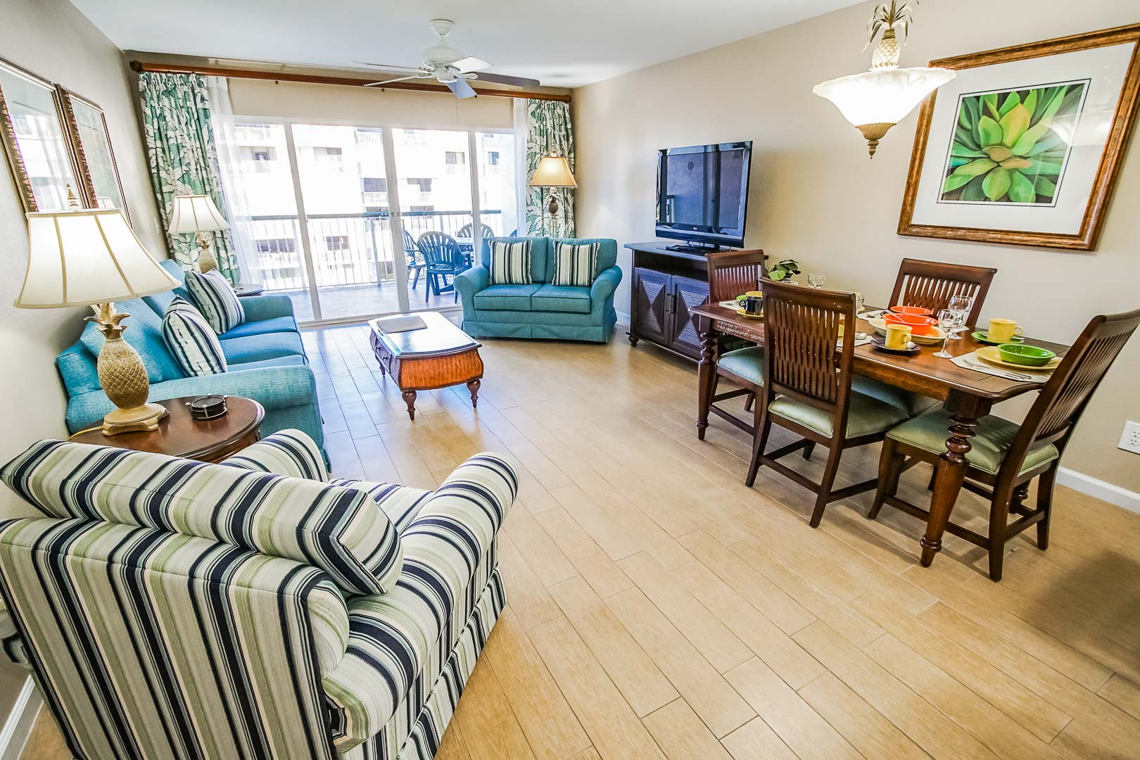 A spacious and modern living room area at VRI's The Resort on Cocoa Beach in Florida.