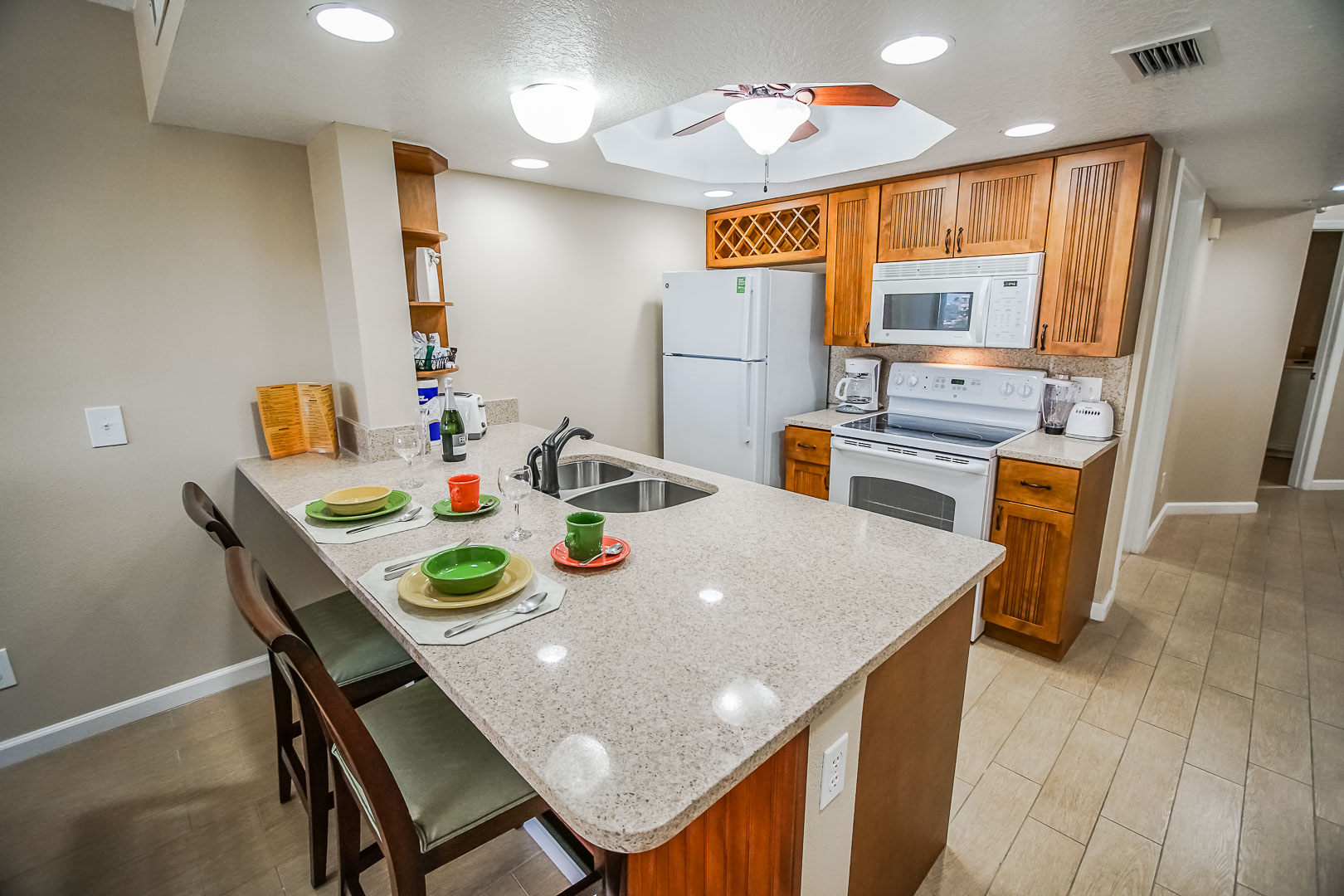 A standard kitchen at VRI's The Resort on Cocoa Beach in Florida.