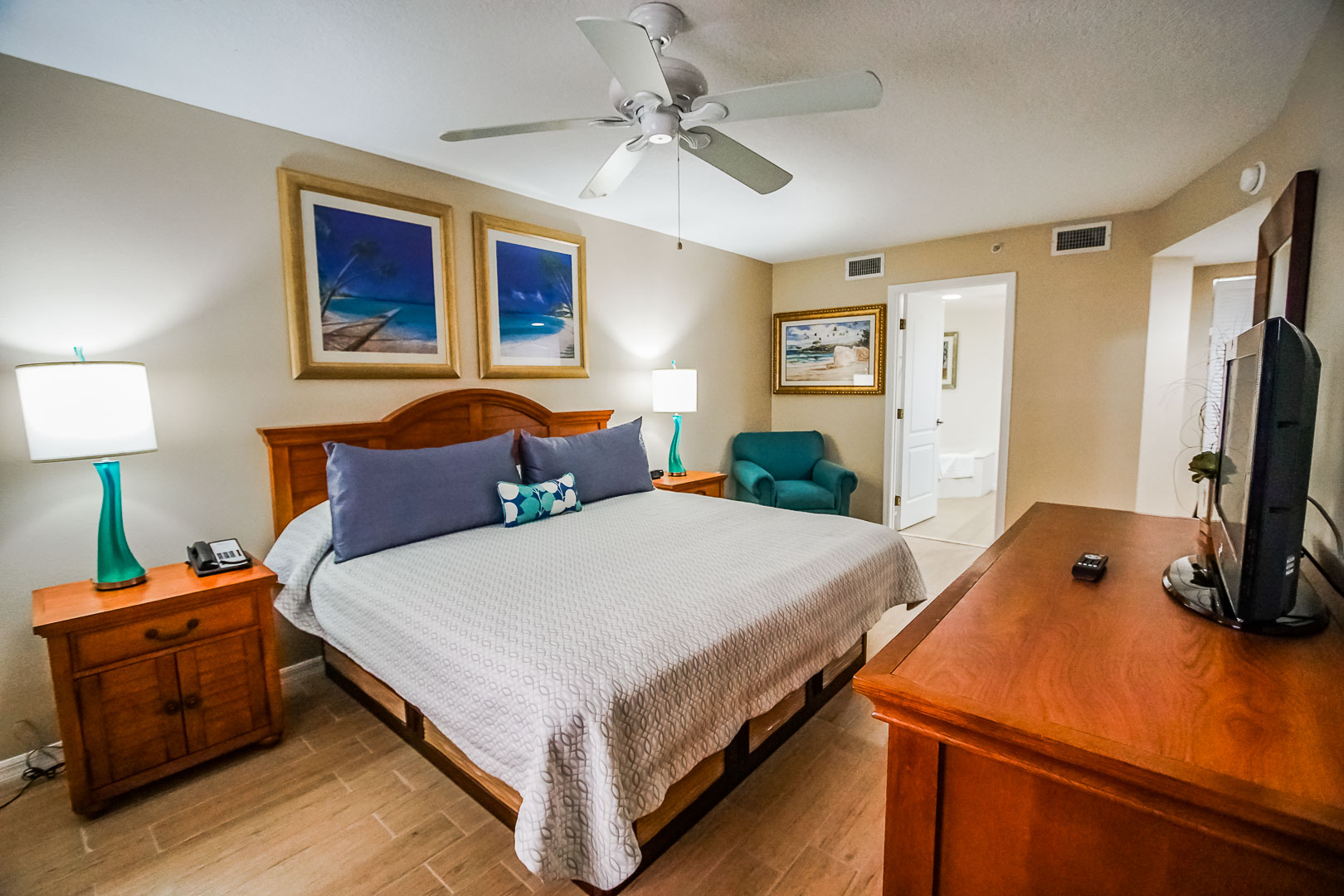 A spacious master bedroom at VRI's The Resort on Cocoa Beach in Florida.