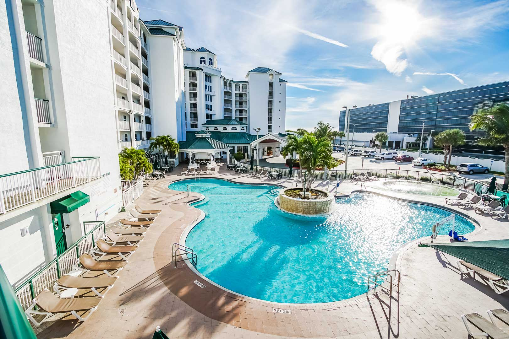 A crisp refreshing pool at VRI's The Resort on Cocoa Beach in Florida.
