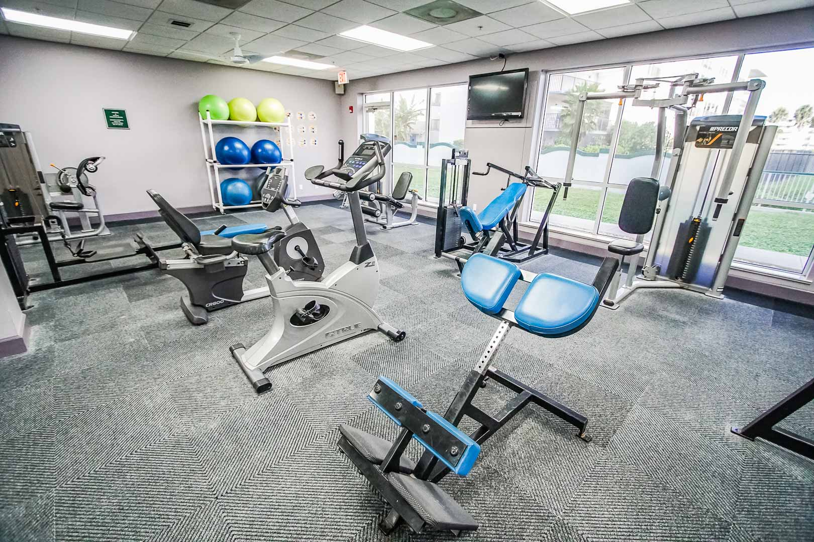 An expansive exercise room at VRI's The Resort on Cocoa Beach in Florida.