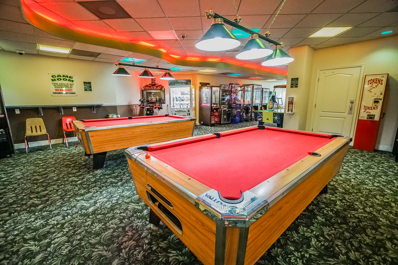 A charming game room at VRI's The Resort on Cocoa Beach in Florida.