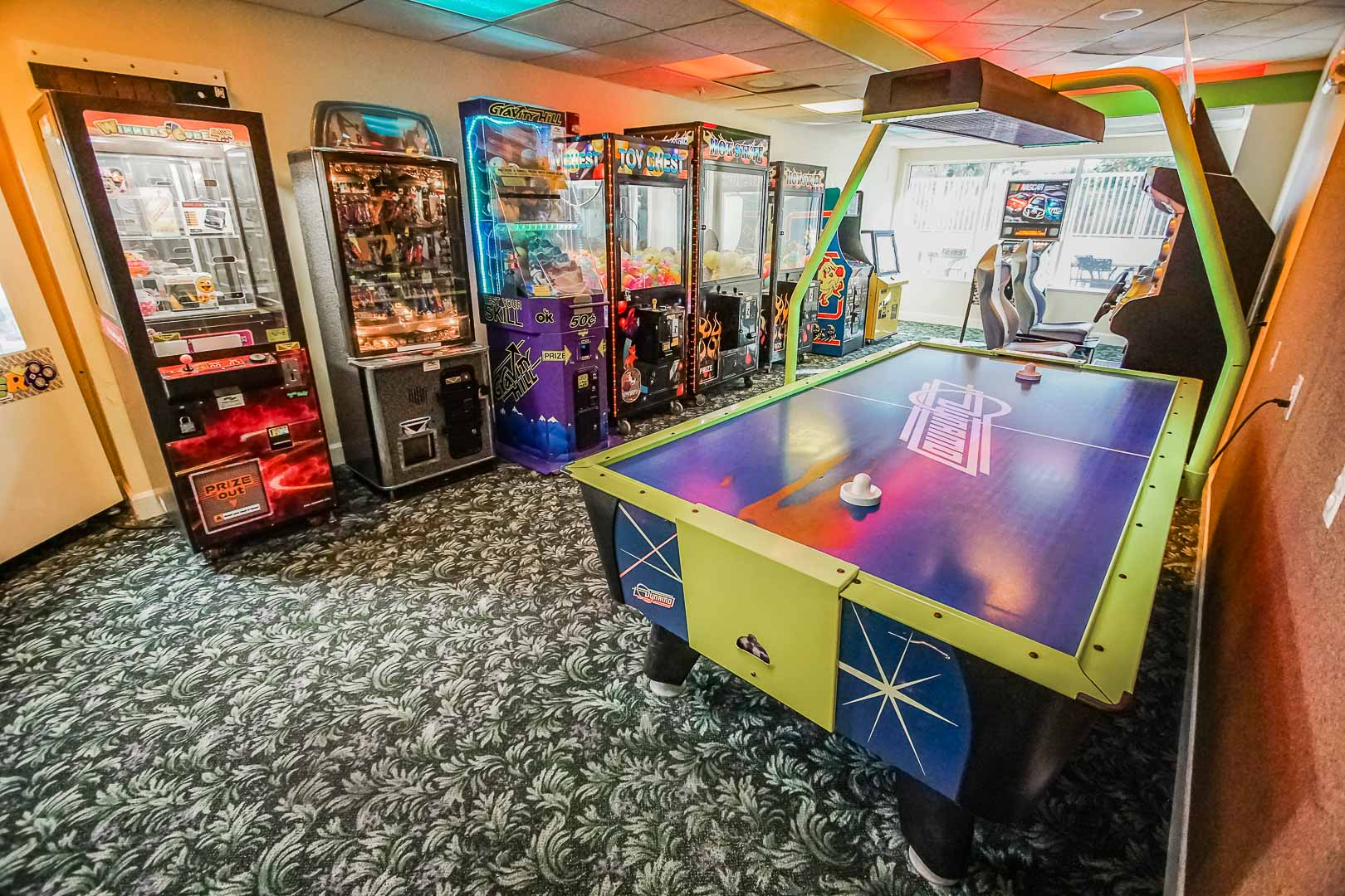 A colorful game room at VRI's The Resort on Cocoa Beach in Florida.