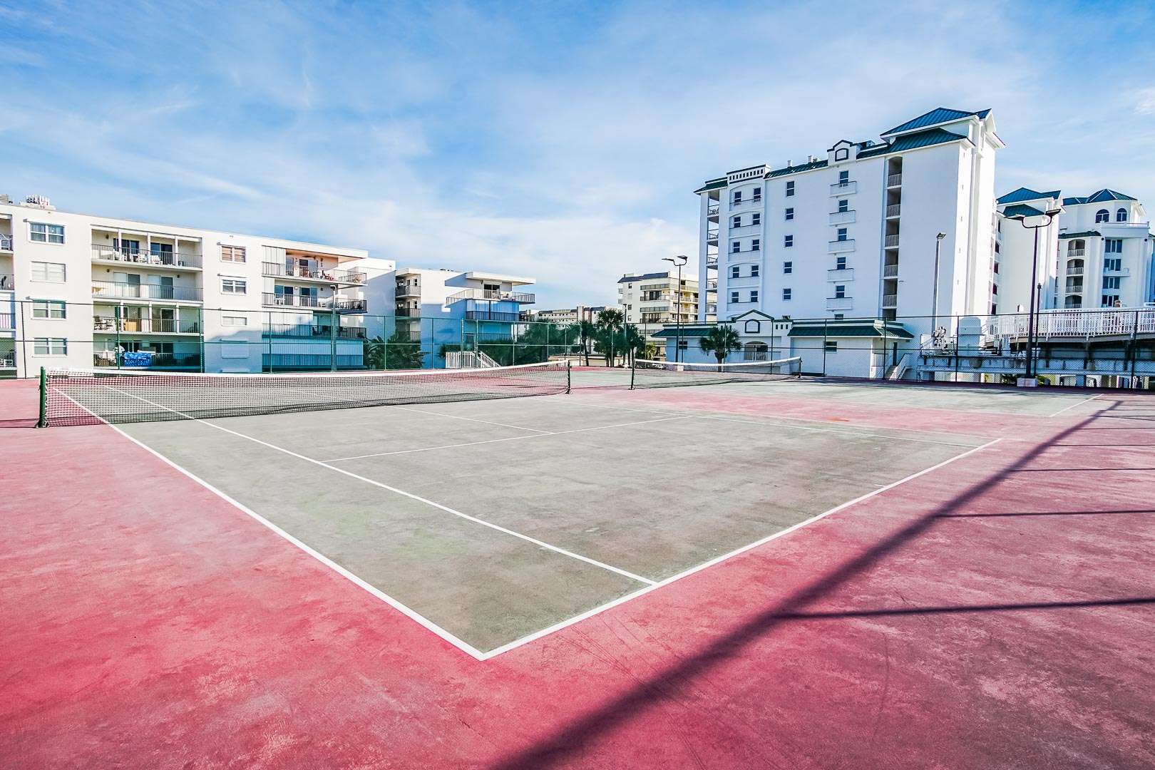 An expansive tennis court at VRI's The Resort on Cocoa Beach in Florida.