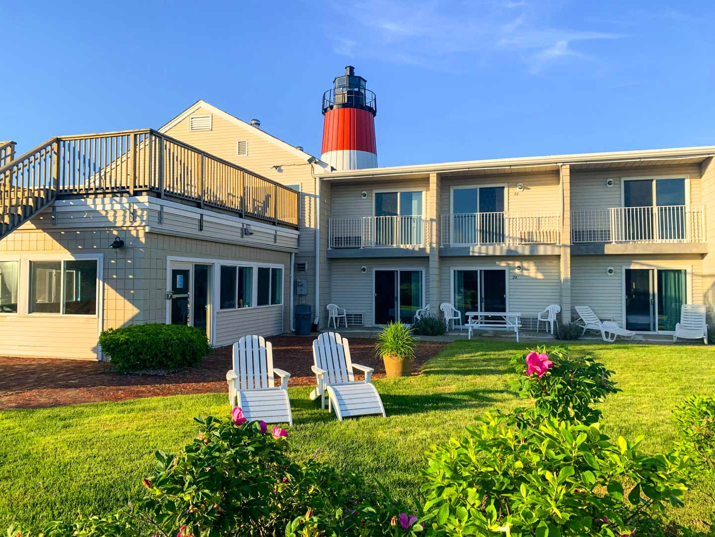 A stoic resort entrance at VRI's Riverview Resort in Massachusetts.