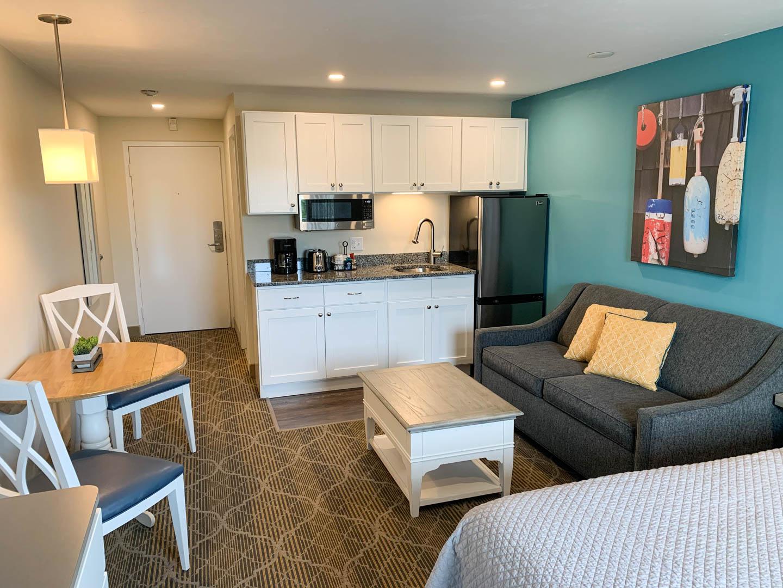 A cozy studio unit at VRI's Riverview Resort in Massachusetts.