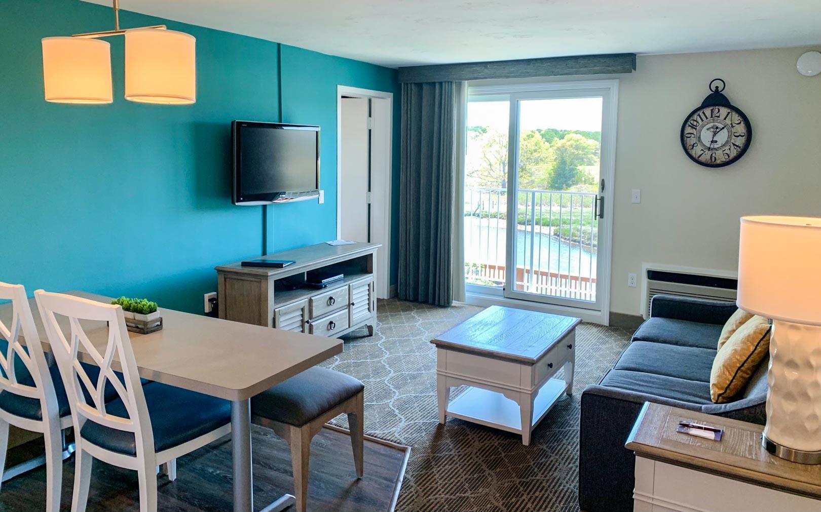 A standard master bedroom at VRI's Riverview Resort in Massachusetts.