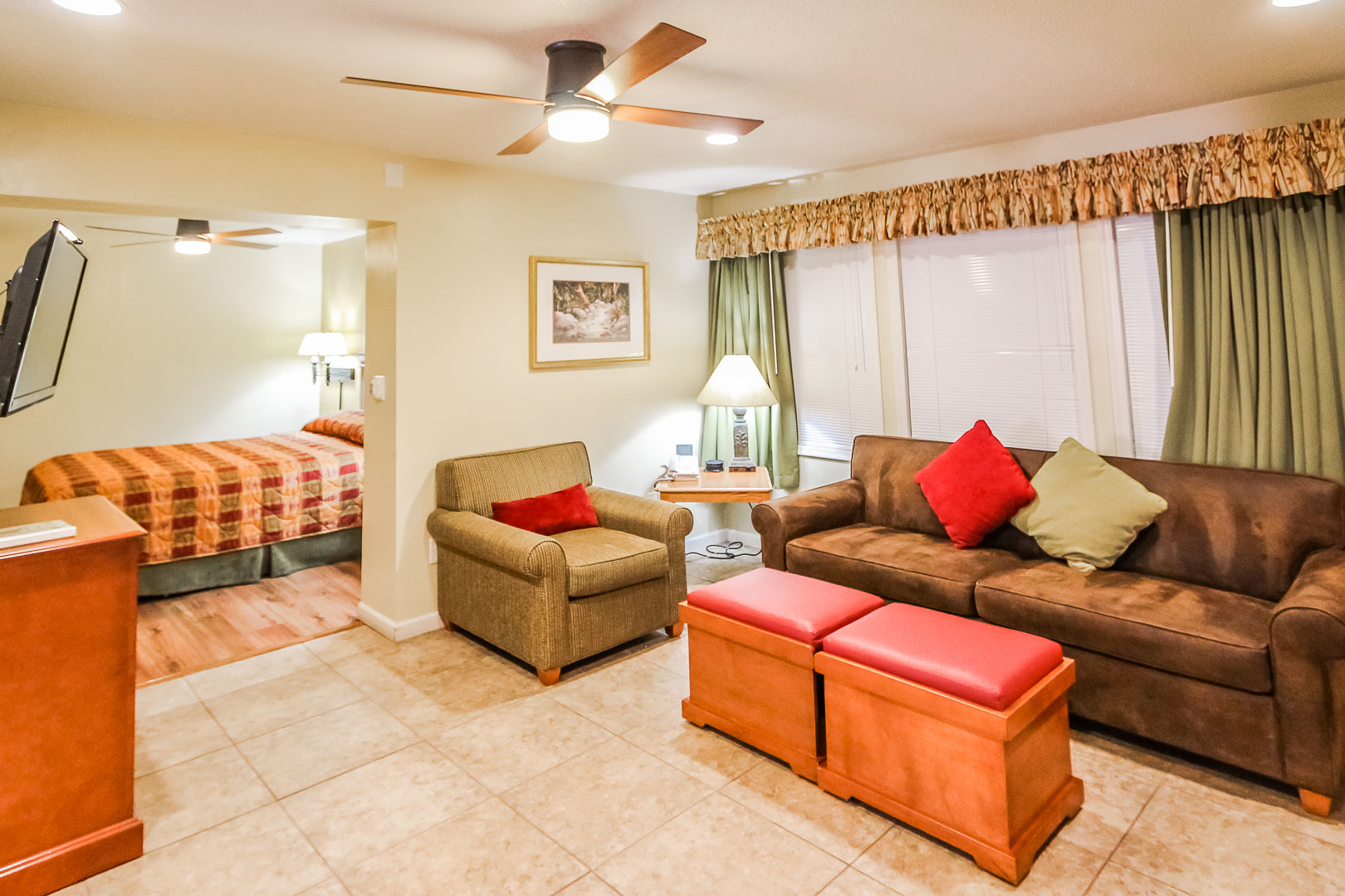 A one bedroom unit with a spacious living room at VRI's Roundhouse Resort in Pinetop, Arizona.
