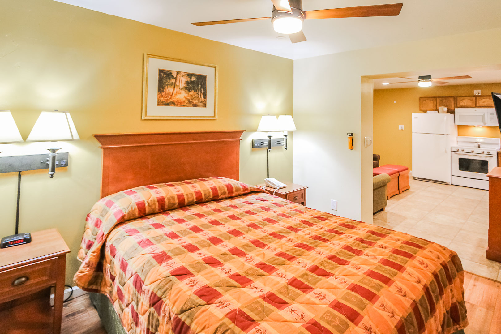A spacious one bedroom at VRI's Roundhouse Resort in Pinetop, Arizona.