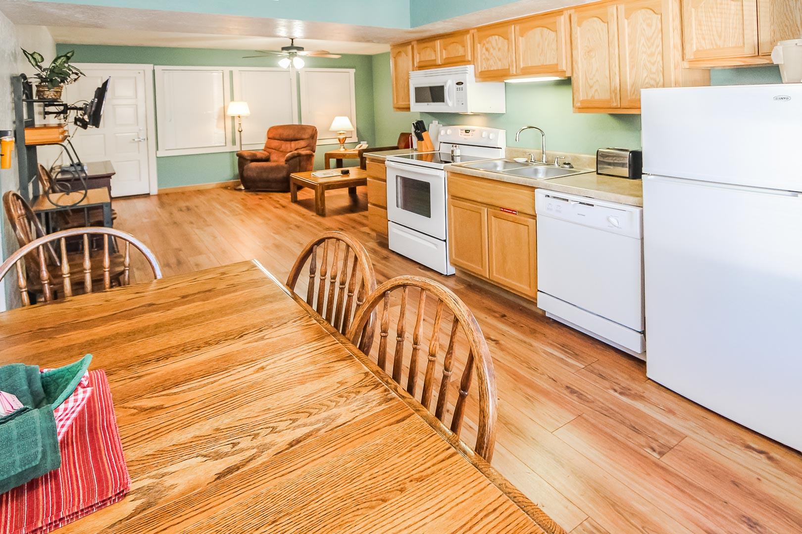 A spacious kitchen at VRI's Roundhouse Resort in Pinetop, Arizona.