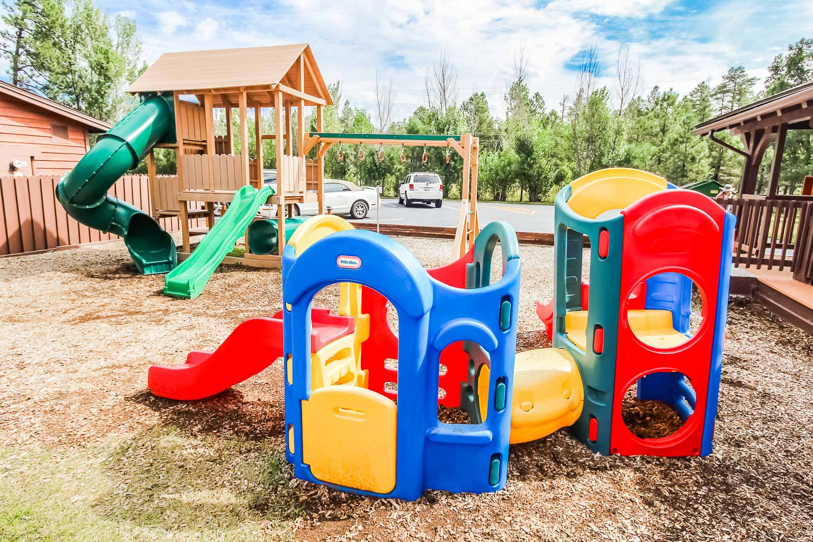 A colorful children play set at VRI's Roundhouse Resort in Pinetop, Arizona.