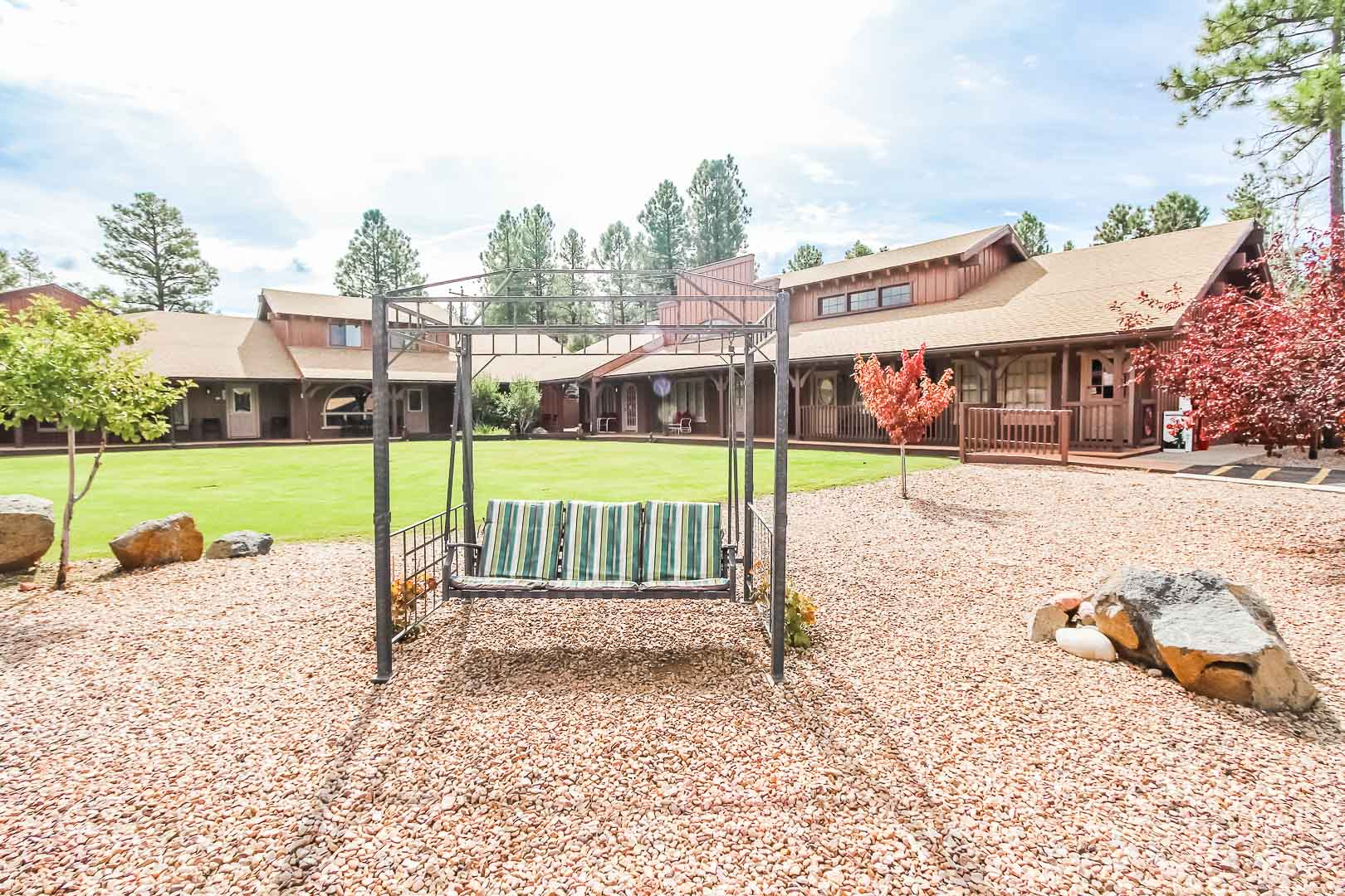 A peaceful view of VRI's Roundhouse Resort in Pinetop, Arizona.