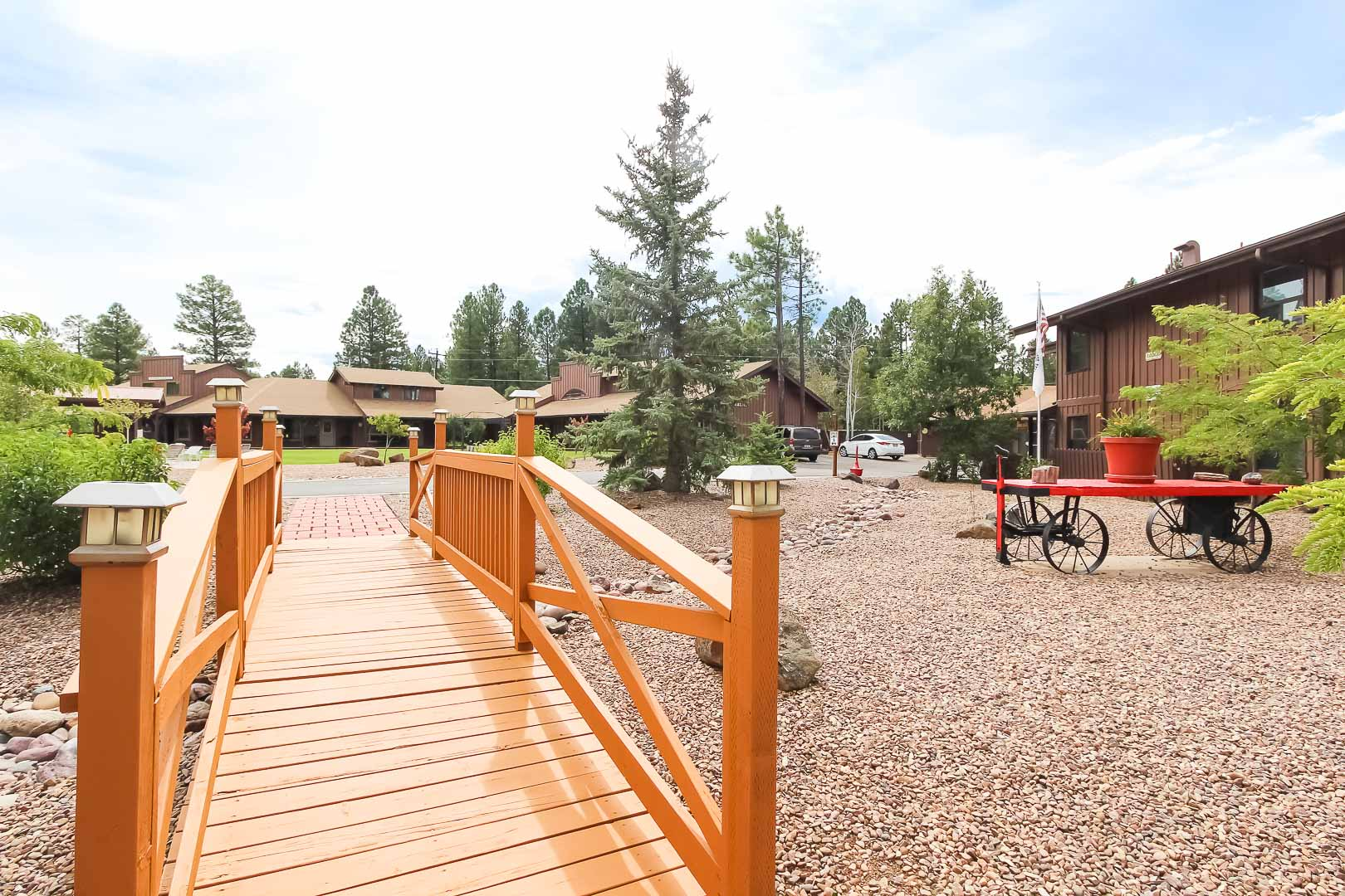 A welcoming entrance at VRI's Roundhouse Resort in Pinetop, Arizona.