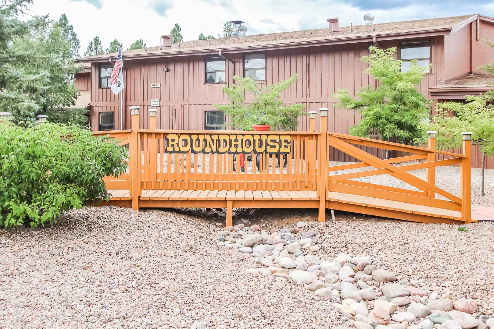 A welcoming resort entrance at VRI's Roundhouse Resort in Pinetop, Arizona.