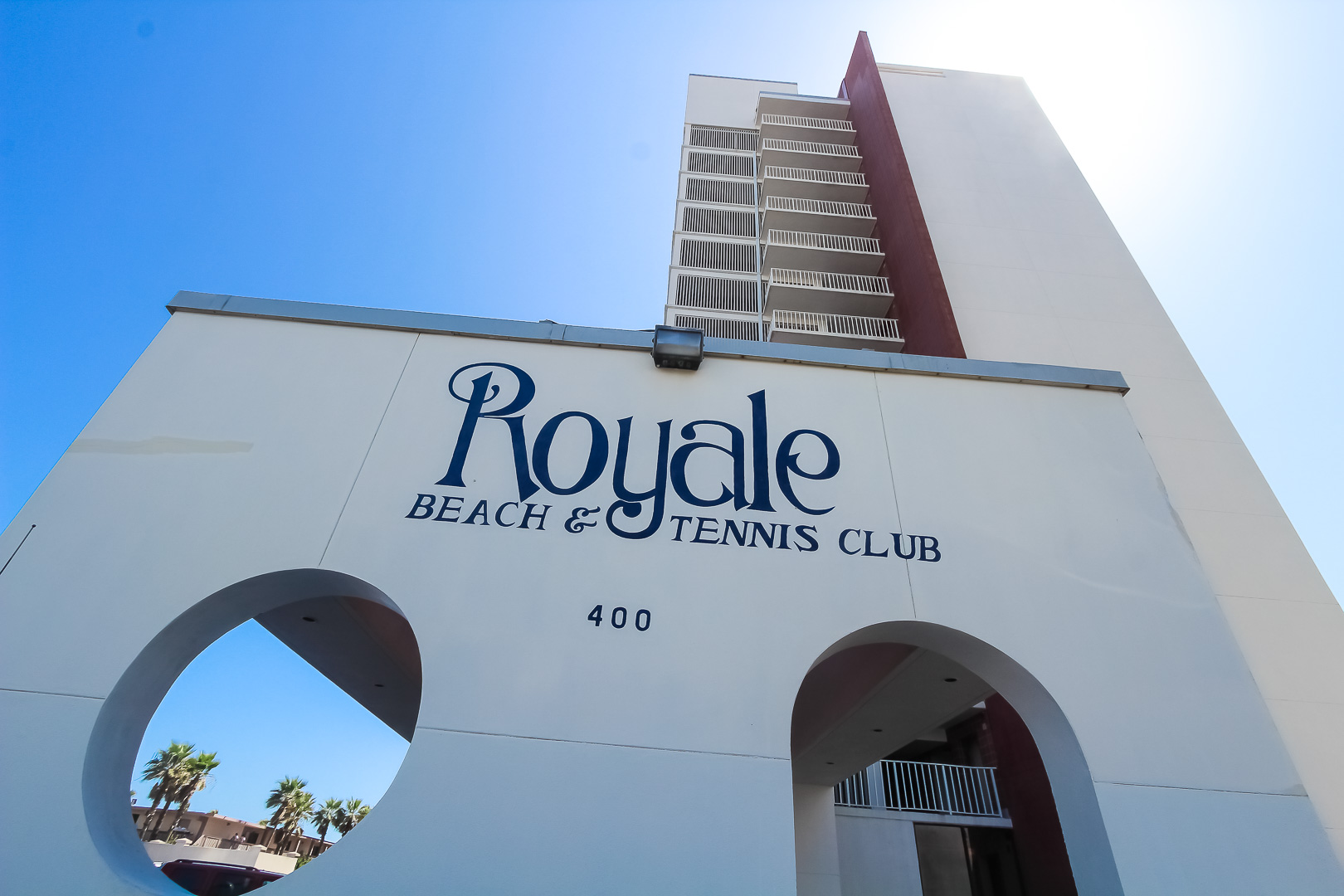 Resort signage at VRI's Royale Beach Tennis Club in Texas.