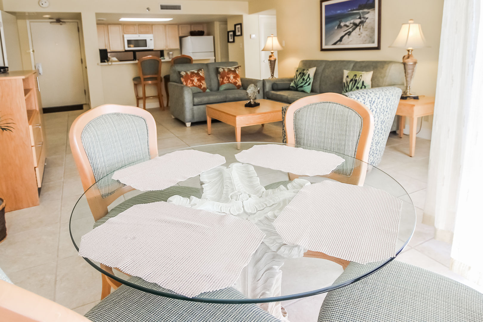 A beautiful dining room area at VRI's Royale Beach Tennis Club in Texas.