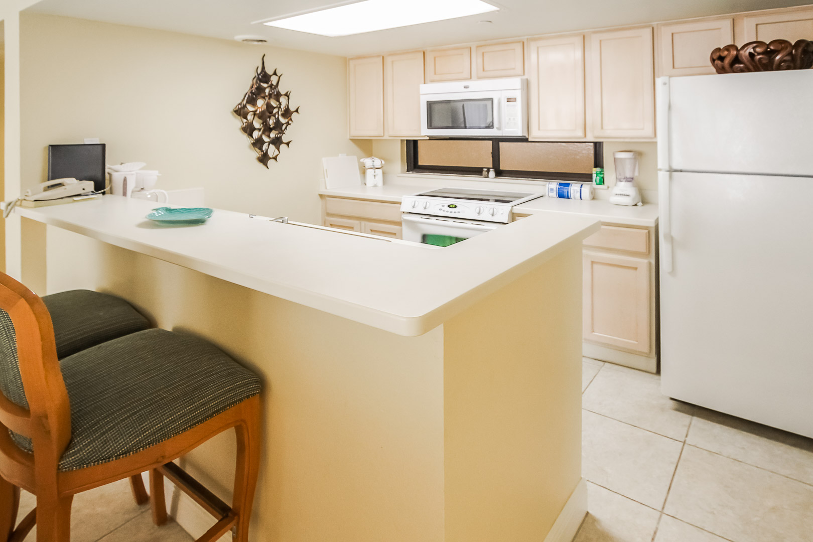 A full kitchen at VRI's Royale Beach Tennis Club in Texas.
