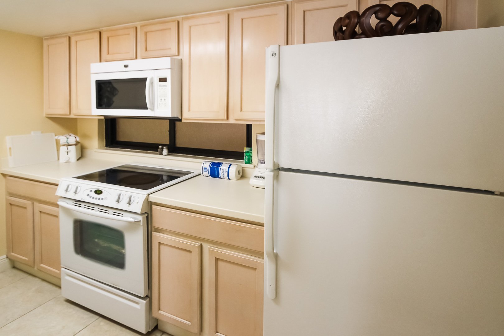 A fully equipped kitchen at VRI's Royale Beach Tennis Club in Texas.