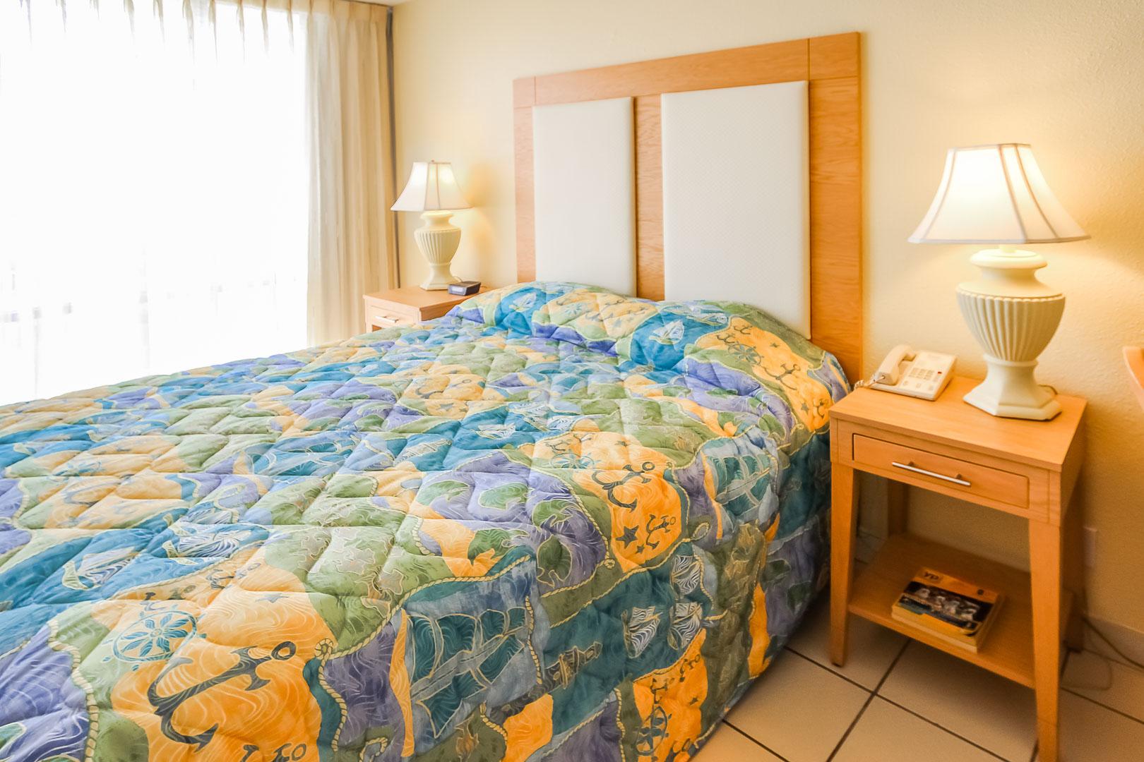 A charming bedroom at VRI's Royale Beach Tennis Club in Texas.