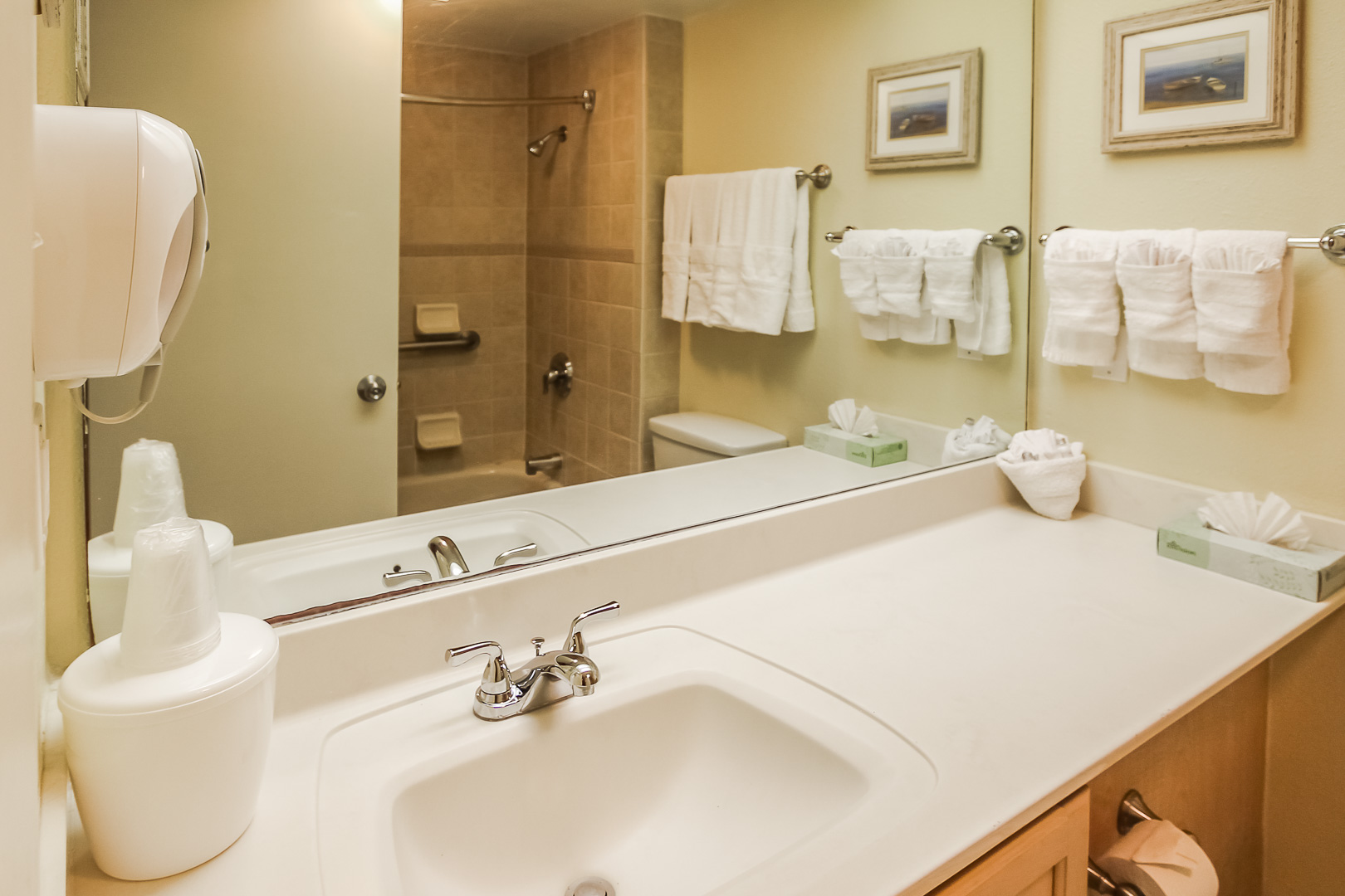 A crisp clean bathroom at VRI's Royale Beach and Tennis Club in Texas.