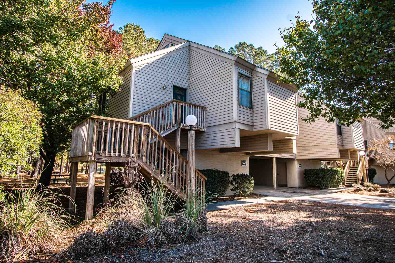 The outside of the units at VRI's Sandcastle Cove in New Bern, North Carolina.