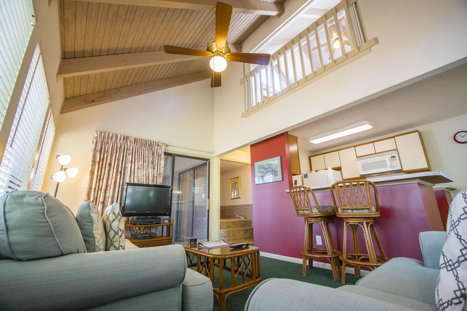 A spacious living room area at VRI's Sandcastle Cove in New Bern, North Carolina.