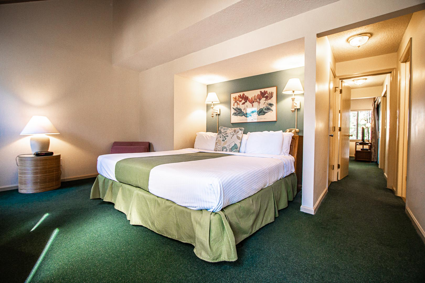 A spacious master bedroom at VRI's Sandcastle Cove in New Bern, North Carolina.