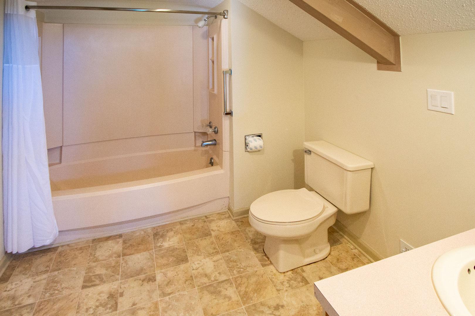 A clean bathroom at VRI's Sandcastle Cove in New Bern, North Carolina.