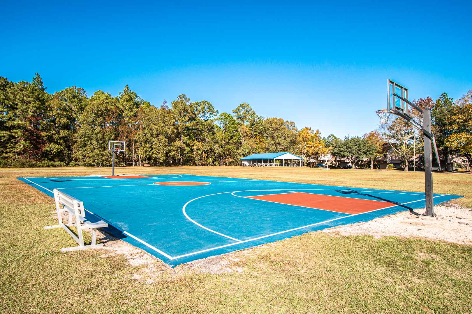 Full size outdoor basketball courts at VRI's Sandcastle Cove in New Bern, North Carolina.