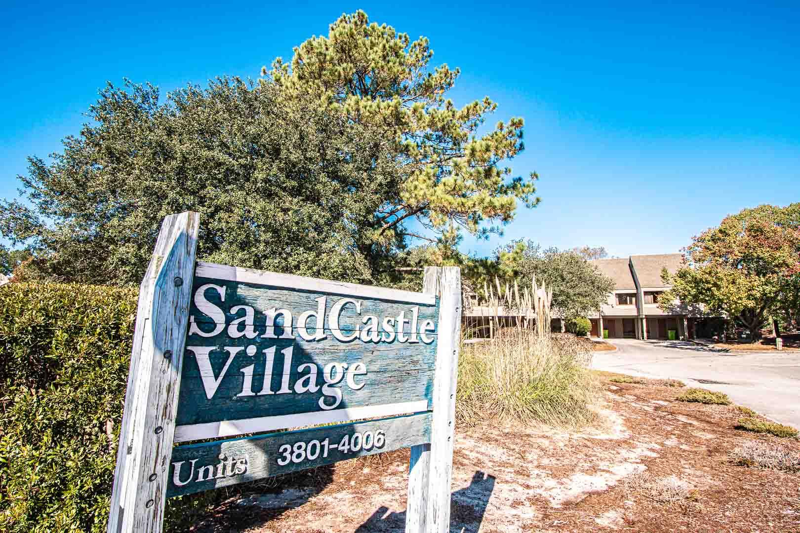 A welcoming resort entrance at VRI's Sandcastle Village in New Bern, North Carolina.
