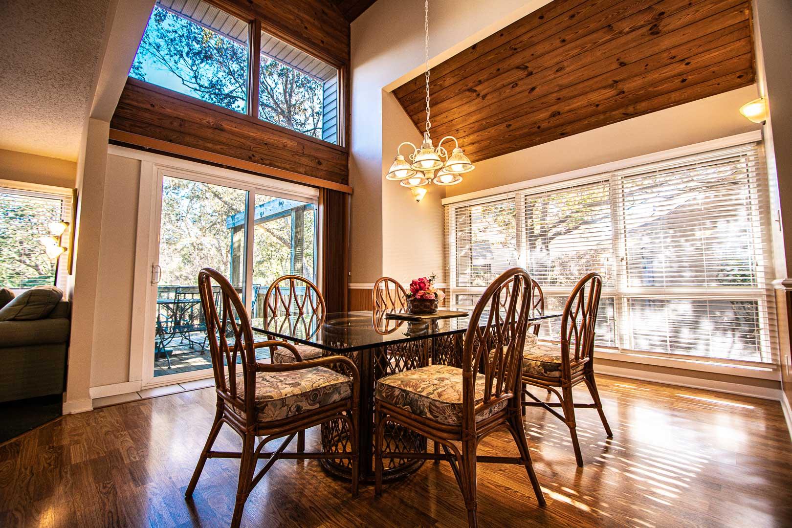 A modern dining room at VRI's Sandcastle Village in New Bern, North Carolina.
