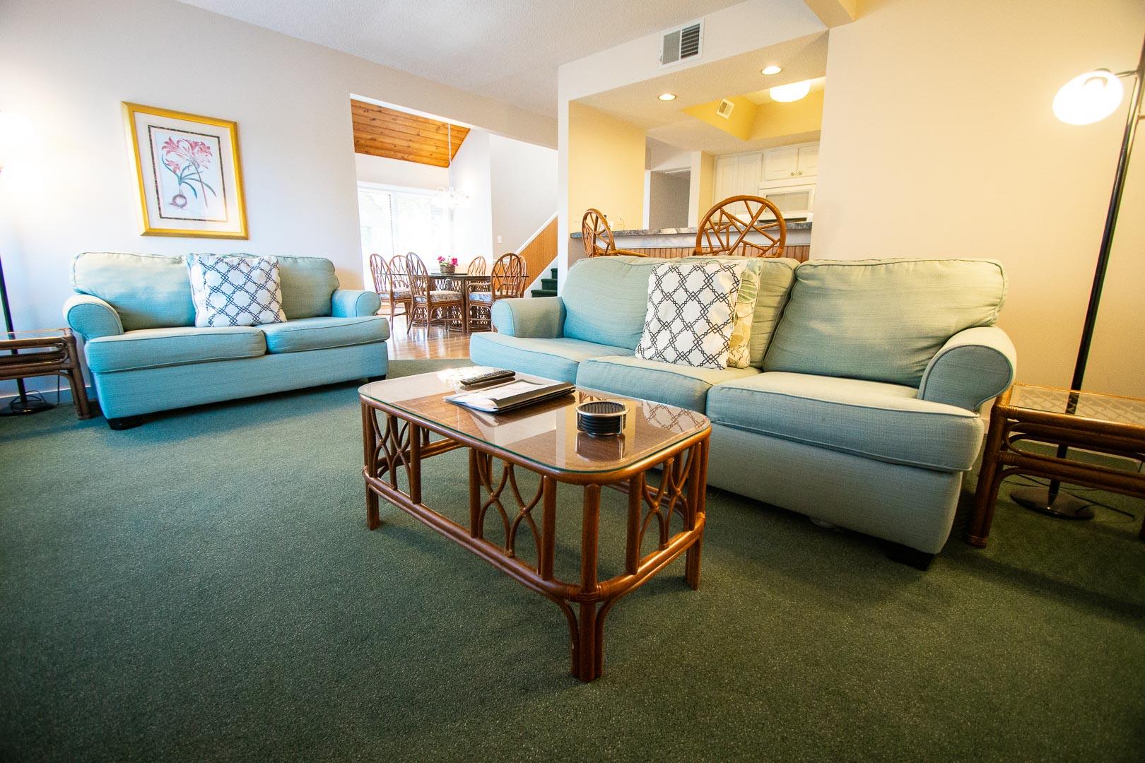 A cozy living room area  at VRI's Sandcastle Village in New Bern, North Carolina.