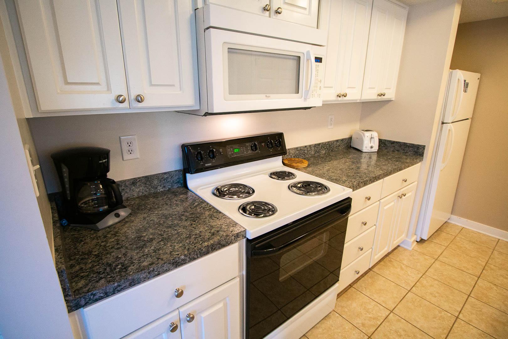 A clean kitchen at VRI's Sandcastle Village in New Bern, North Carolina.