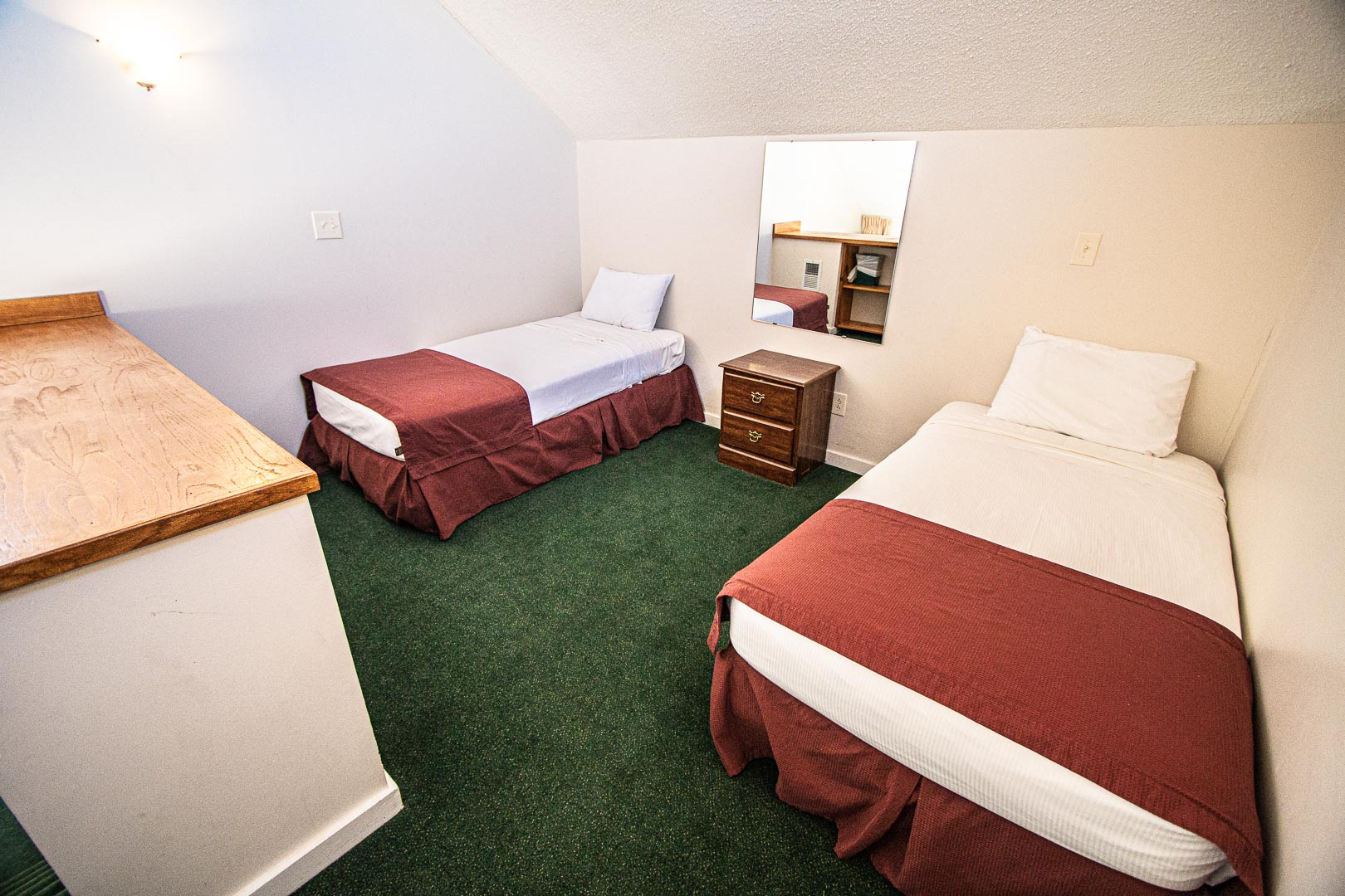 A two bedroom with double beds at VRI's Sandcastle Village in New Bern, North Carolina.
